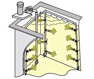 Расположение эжекторов в ванне